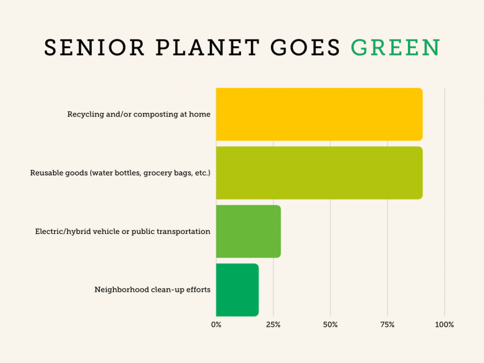 chart of Senior Planet community sustainable practices